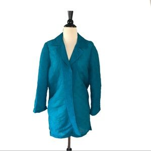 Chico's Travelers Blue Pleated Open Front Jacket